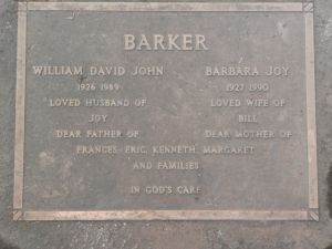 Barker, William John & Barbara Joy