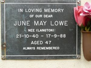 Lowe, June May (nee Langton)