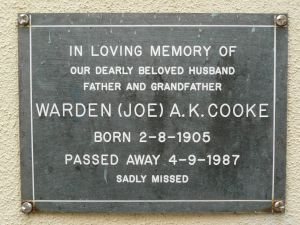Cooke, Warden A K (Joe)