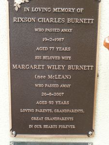 Burnett, Rixson & Margaret Wiley (Peggy){nee McLean}