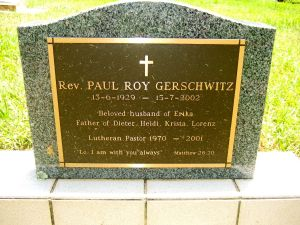 Gerschwitz, Rev. Paul Roy
