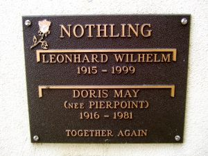 Nothling, Leonard Wilhelm & Doris May (Pierpoint)