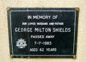 George Milton Shields, -Service Number - NX157799