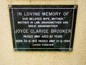 Brooker, Mrs Joyce Clarice