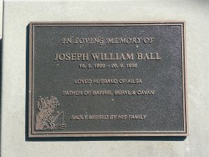 Ball, Joseph William, died 26th August 1936