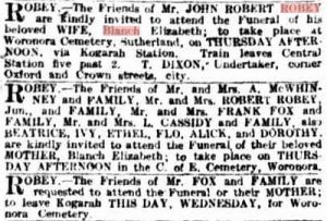 Death notice - Mrs Blanch Robey (nee Edwards)