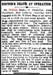 Death notice - Dr William Boake