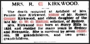 Death of Fanny Jane Kirkwood (nee Hatton)