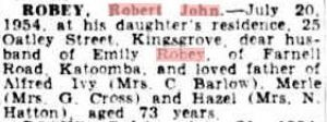 Death notice - Robert John Robey