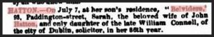 Funeral notice - Mrs Sarah Hatton (nee Connell)