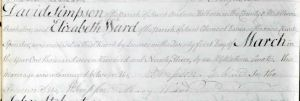 The marriage entry for David Simpson and Elizabeth Ward on 21 March 1793, Holborn, England.