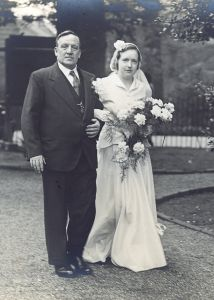 Elizabeth Ivy Matthews with father William on her wedding day, 20 April 1940
