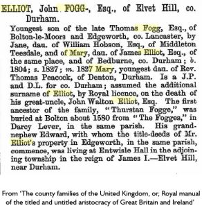 Basic descendancy of John Fogg-Elliot