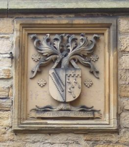 'Nec Pavidus Nec Superbus' (neither fearful nor overbearing). One of the two coats of arms on Elvet Hill, Durham.