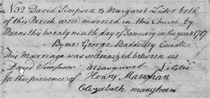 Marriage of David Simpson and Margaret Lister, 29 January 1767, St James, Westminster, London