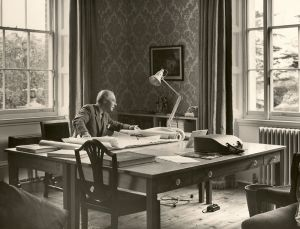 Architect John Page at work in the study at Abberton Manor