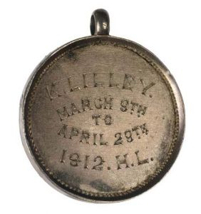 Silver Holloway medal presented to the militant suffragette Kate Lilley.