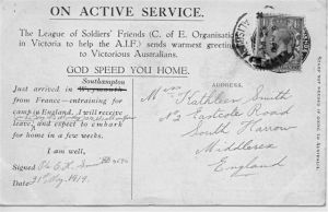Postcard fron Pte Oliver Harmond Smith (Aust) to Kathleen Smith (England)