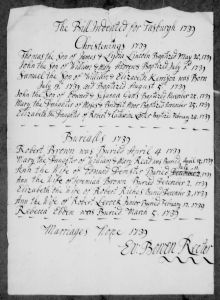 Christening record for Thomas Lincoln, son of James & Lydia Lincoln.